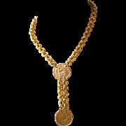 Coin Choker Y Necklace, British Half Pennies
