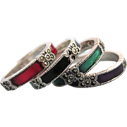 Vintage Signed Judith Jack Sterling, Enamel & Marcasite Set of 4 Stackable Rings, Size 7
