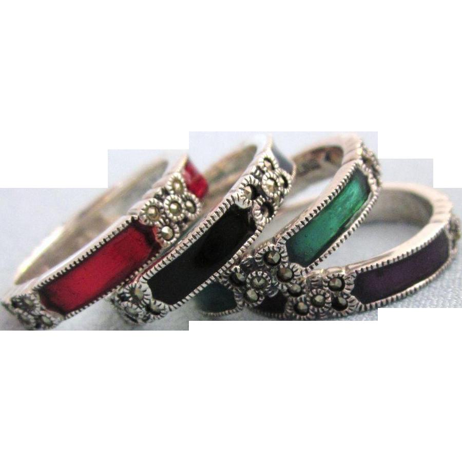 Judith Jack Marcasite Stackable Ring Set