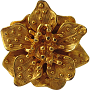 Signed KJL Fabulous Goldtone Large Floral Ring, Size 6