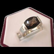 Elegant Vintage Sterling Smoky Topaz Size 9 Ring