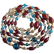 """Vibrant 60"""" Long Rope Necklace - Glass, Crystal, Rhinestone Rondelle Beads"""