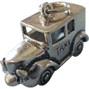 Sterling Old Fashioned Early Model Taxicab 3-D Charm