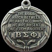 Beta Sigma Phi Sterling Charm Medal Pendant - Vita Scientia Amicitia