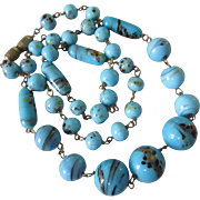 "Vintage Blue Czech Glass Hand Wired Bead 19"" Necklace"