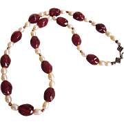 """Carnelian Gemstone and Freshwater Pearl 20"""" Necklace With Copper Accents"""