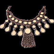 Vintage Boho Copper and Enamel Bib Necklace