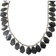 Vintage Paperclip Chain Necklace With Black Lucite Faceted Bead Dangles