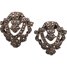 On Reserve   Vintage Signed Judith Jack Sterling and Marcasite Pierced Earrings