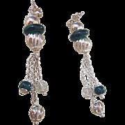 Stunning Signed Milor Italian Sterling Silver Long Dangle Pierced Earrings