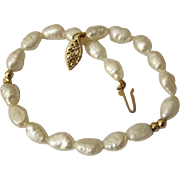 Genuine Freshwater Pearl bracelet with 14K Gold Filigree Clasp