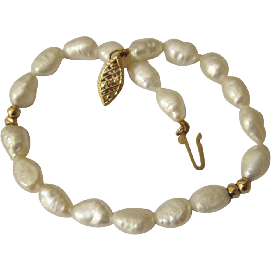 Genuine Freshwater Pearl Bracelet With 14k Gold Filigree