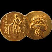 Vintage Signed Alva Studios Goldtone Coin Brooch