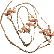 """Delicate 36"""" GF Angel Skin Coral and Cultured Pearl Rope Necklace"""