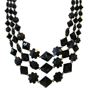 Vintage Black Plastic Lucite Floral and Faceted Bead Three Strand Necklace