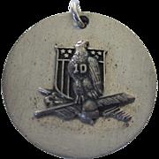 Vintage Sterling 3-D Medal With Eagle, Flag and 10 (9.9 Grams)