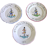 "Set of 3 Vintage French Faience 9-1/2"" Cabinet Plates, Numbered"