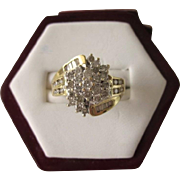 Dazzling Mid-20th Century 1 CTW Diamond White and Yellow Gold Cocktail Ring, Size 5-1/2