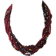 Vintage Chunky Nine Strand Glass Bead Torsade Necklace in Gorgeous Reds!