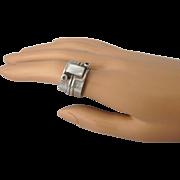 Vintage Signed Sajen Sterling Silver Gemstone MOP Wide Band Ring, Size 7-1/2 or 7-1/4
