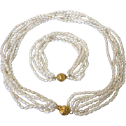 Freshwater Pearl Multistrand Necklace and Bracelet Set, Fancy Clasp