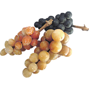 Vintage Italian Alabaster Stone Grape Arrangement, Three Clusters