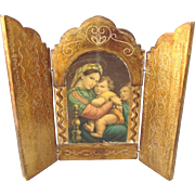 Vintage Florentine Religious Triptych, Madonna and Child