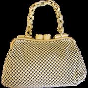 Vintage Whiting & Davis Aluminum Enamel Mesh Purse, Lucite Hand and Details