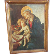 """Vintage Italian Florentine 16"""" x 13"""" Religious Framed Picture, Madonna and Child"""