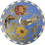 Vintage Large Chinese Cloisonne Brooch, Birds and Flowers