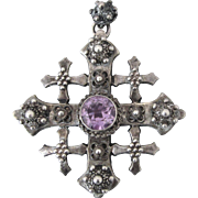 Exceptional, Large Sterling Jerusalem Crusader's Cross, Lab Alexandrite, Ornate Cannetille,