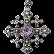 Exceptional, Large Sterling Jerusalem Crusader's Cross, Lab Alexandrite, Ornate Cannetille,