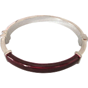 Milor Sterling and Burgundy Enamel Hinged Oval Bangle Bracelet, Italy