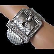 Fabulous Wide Matte Silvertone and Rhinestone Buckle Bracelet
