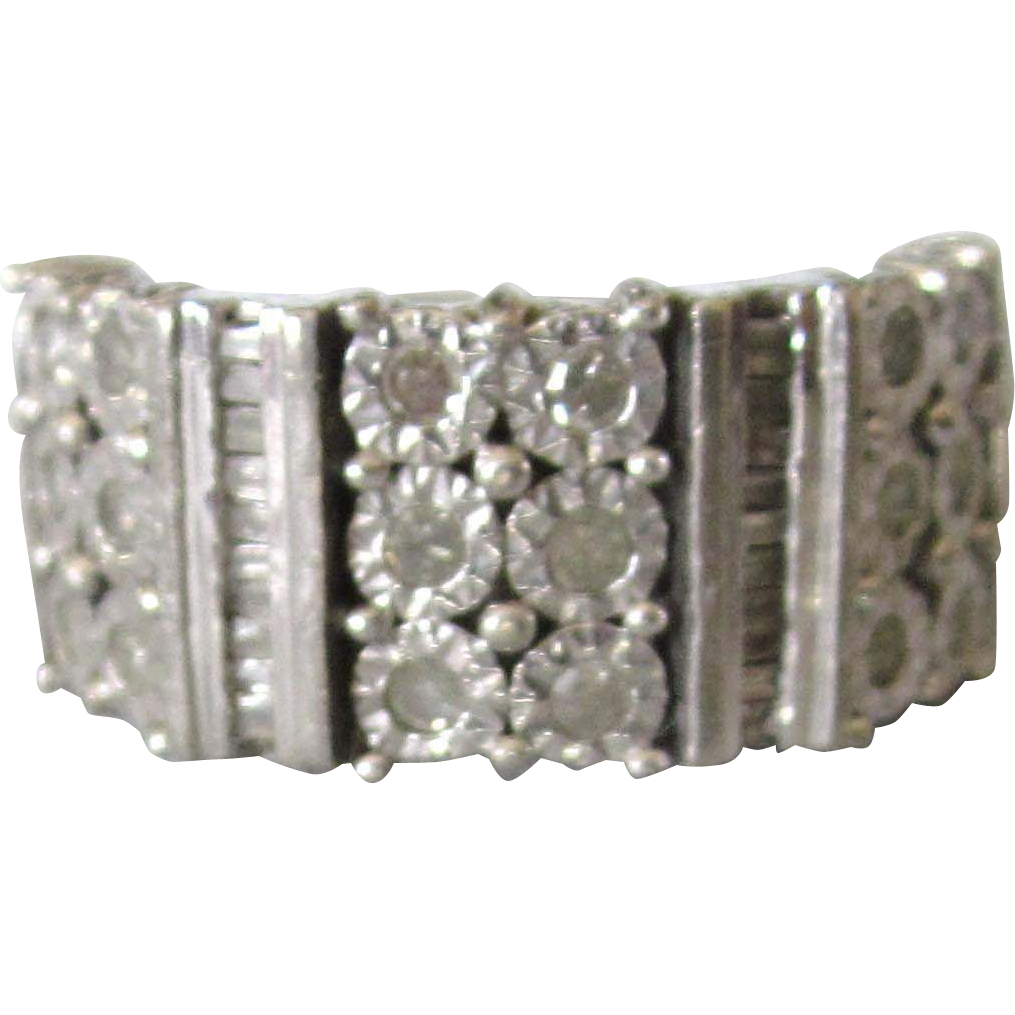 sophisticated sterling silver and wide band ring