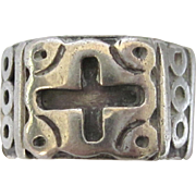 Gothic Design Taxco Mexico Sterling Silver Wide Band Ring With Crosses, Size 6