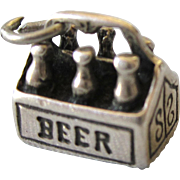 Vintage Sterling 3-D Charm - Six Pack of Beer