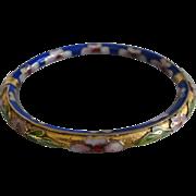 Vintage Raised Cloisonne Enamel Hinged Oval Bangle Bracelet