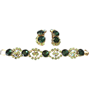 Vibrant Large Emerald Green Rhinestone Bracelet/Earrings