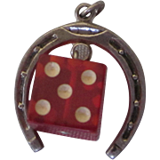 Vintage Sterling Horseshoe and Red Lucite Die Good Luck Gambling Charm Pendant