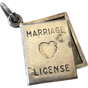 Vintage Sterling Marriage License State of Bliss Moveable Book Charm Pendant