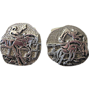 Bold Vintage Sterling Rodeo Cowboy Pair of Large Cuff Links - Fabulous and Unusual!