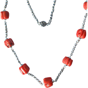 "Vintage Sterling Silver and Barrel Branch Coral Beads 23"" Necklace"