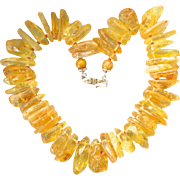 Vintage Honey Amber Organic Bead Chunky Necklace