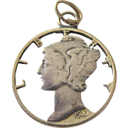 1944 Mercury Head Liberty Dime Cut-Out Charm Pendant
