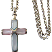 "Sterling Silver Pastel Mother of Pearl Cross Necklace With Chunky Sterling Belcher 17"" Chain"