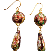 Chinese Teardrop Dangling Cloisonne Gold Filled Pierced Earrings