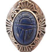 Sterling Egyptian Design Faux Lsapis Scarab Amulet Ring, Size 6