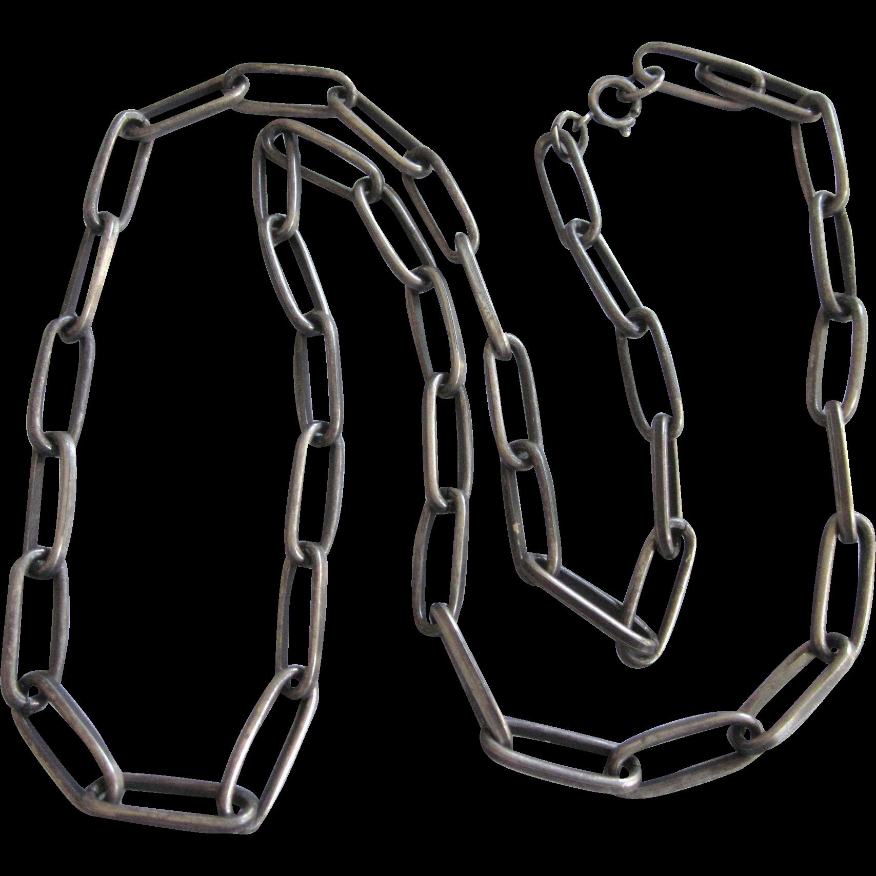 Vintage Heavy Pewter Finish Paper Clip 30 Quot Chain Necklace