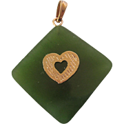 Vintage Jade and Gold Filled Pendant Charm With Heart
